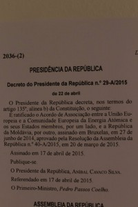 Il Portogallo ha ratificato l'Accordo di associazione della Moldova all'UE - O veste bună: Portugalia a ratificat Acordul de Asociere RM-UE