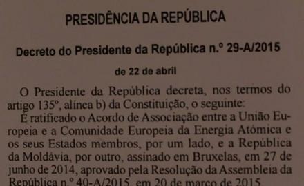 Il Portogallo ha ratificato l'Accordo di associazione della Moldova all'UE