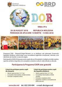 Biroul relații cu diaspora anunță perioada deschisă pentru înscrierea la Programul DOR, ediția a VI-a